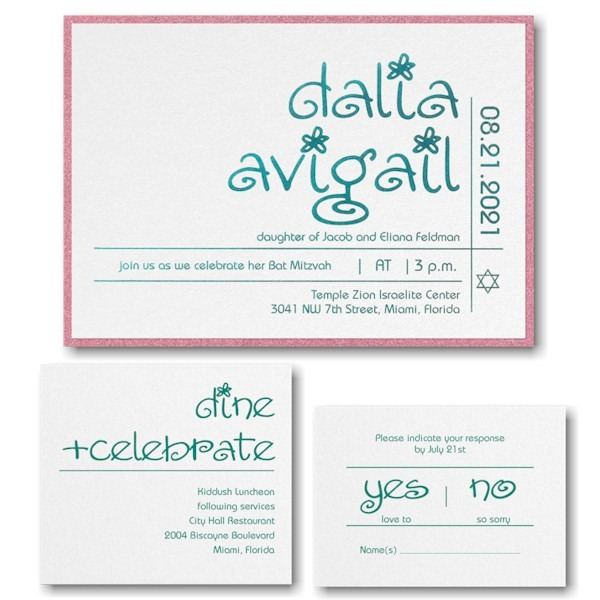 Glitter Girl Layered Bat Mitzvah Invitation