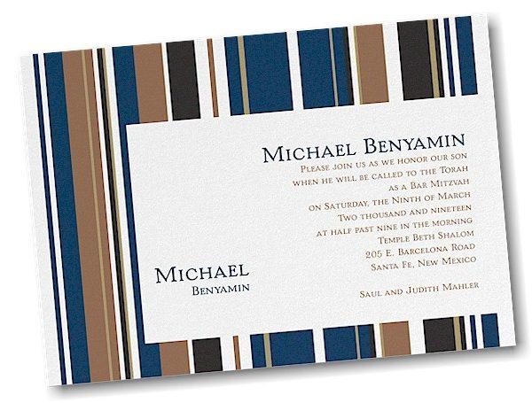 Handsome Stripes Bar Mitzvah Invitation