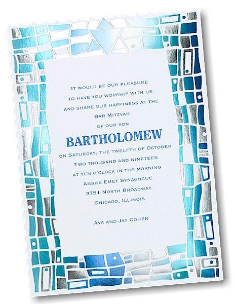Hip Mosaic Blues Bar Mitzvah Invitation