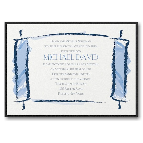 Artistic Torah Layered Bar Mitzvah Invitation