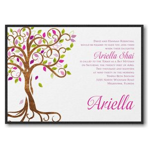 Blooming Tree Layered Bat Mitzvah Invitation Sample