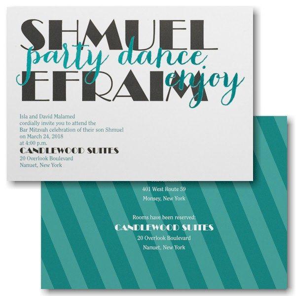 "Celebrating Big ""Party"" Bar Mitzvah Invitation"