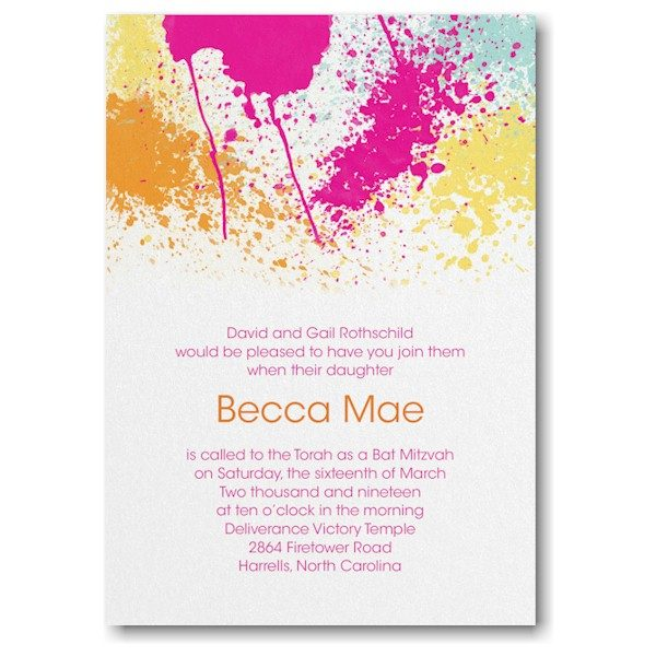 Color Splash Bat Mitzvah Invitation