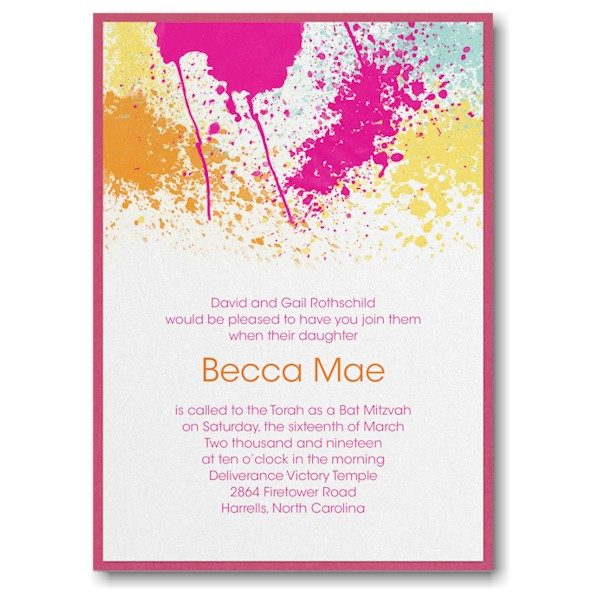 Color Splash Layered Bat Mitzvah Invitation