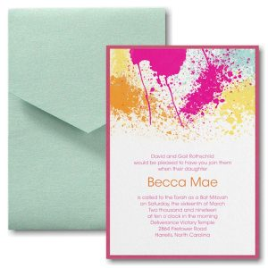 Color Splash Pocket Bat Mitzvah Invitation