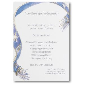 Embellished Tallit Bar Mitzvah Invitation
