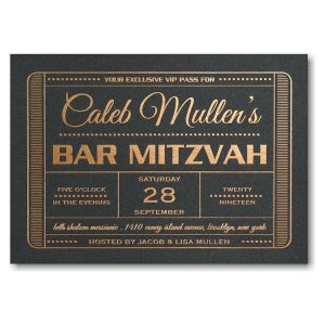 Exclusive Vip Pass Bar Mitzvah Invitation