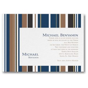 Handsome Stripes Bar Mitzvah Invitation Sample