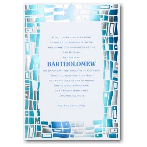 Hip Mosaic Blues Bat Mitzvah Invitation Sample