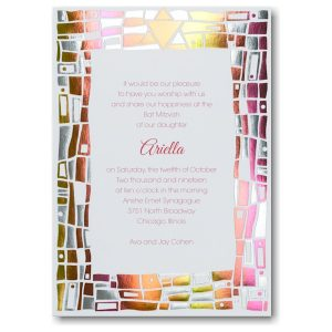 Hip Mosaic Brights Bat Mitzvah Invitation