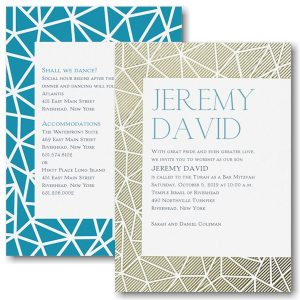 "Mitzvah Pattern ""Crackle"" Bat Mitzvah Invitation"