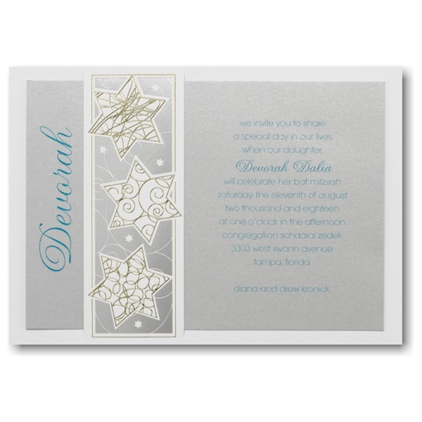 Modern Stars Bar Mitzvah Invitation