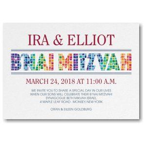 Prism Mosaic B'nai Mitzvah Invitation