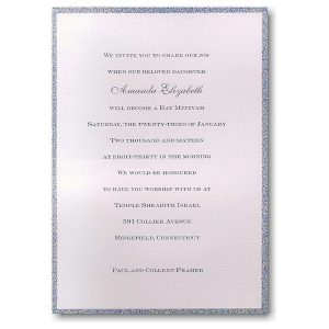 Silver Dazzle Bar Mitzvah Invitation