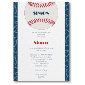 Sports Star Baseball Bar Mitzvah Invitation