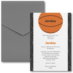 Sports Star Basketball Pocket Bar Mitzvah Invitation