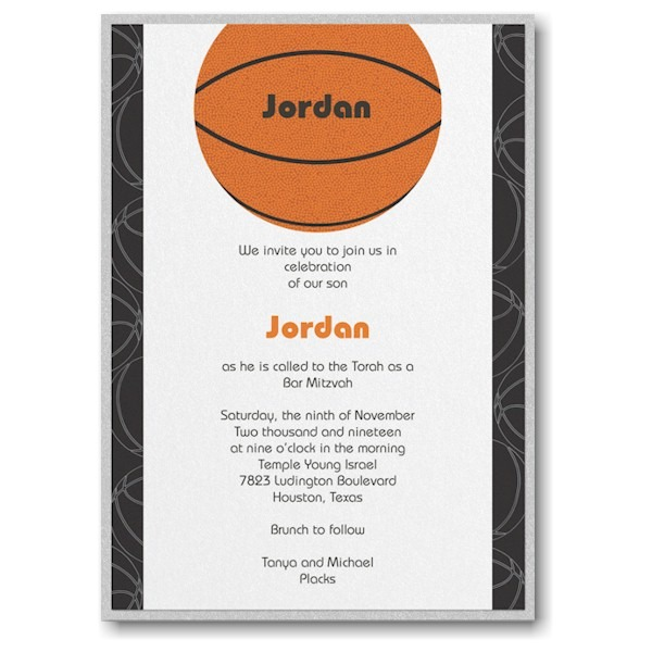 Sports Star Basketball Layered Bar Mitzvah Invitation