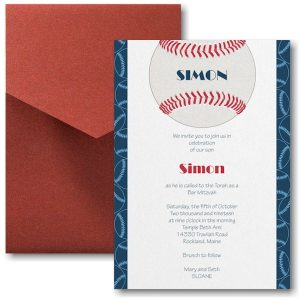Sports Star Baseball Pocket Bar Mitzvah Invitation