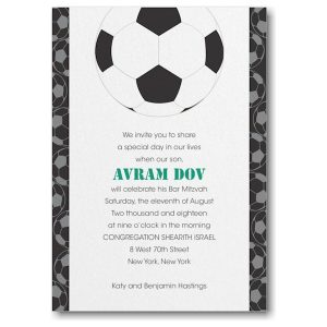 Sports Star Soccer Bar Mitzvah Invitation