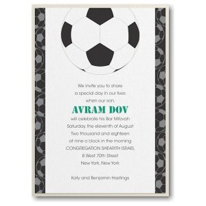 Sports Star Soccer Layered Bar Mitzvah Invitation