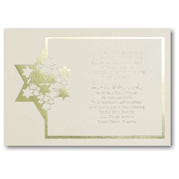 Stars of David Bar Mitzvah Invitation