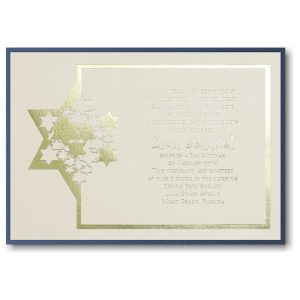 Stars of David Layered Bar Mitzvah Invitation