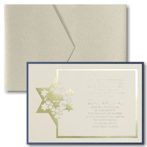 Stars of David Pocket Bar Mitzvah Invitation Sample