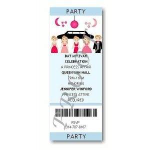Ticket - Photo Light Blue Bat Mitzvah Invitation Sample