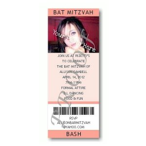 Ticket Photo Peach Bat Mitzvah Invitation
