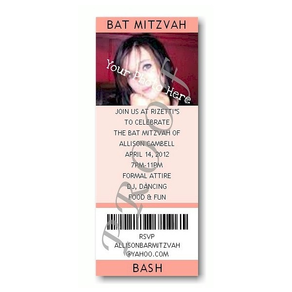 Ticket - Photo Peach Bat Mitzvah Invitation Sample