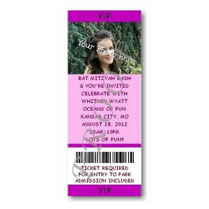 Ticket Photo Purple Bat Mitzvah Invitation