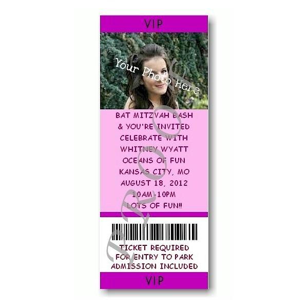 Ticket Photo Purple Bat Mitzvah Invitation