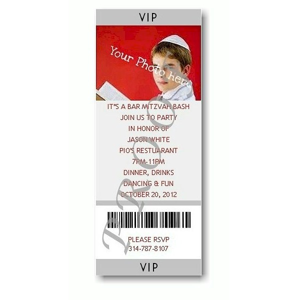 Ticket Photo Red Bar Mitzvah Invitation