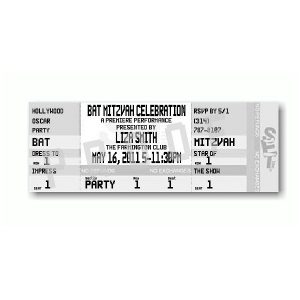 Ticket - Silver Bat Mitzvah Invitation Sample