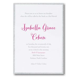 Silver Dazzle Bat Mitzvah Invitation Sample