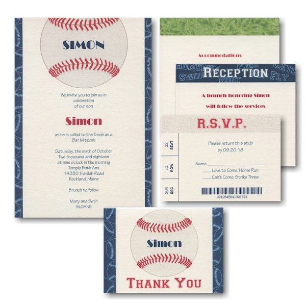 Sports Star Baseball Bar Mitzvah Invitation