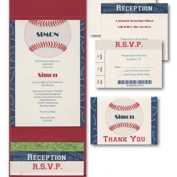 Sports Star Baseball Pocket Bar Mitzvah Invitation