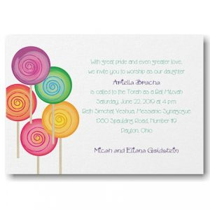 Sweet as Candy Bat Mitzvah Invitation