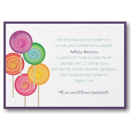 Sweet as Candy Layered Bat Mitzvah Invitation