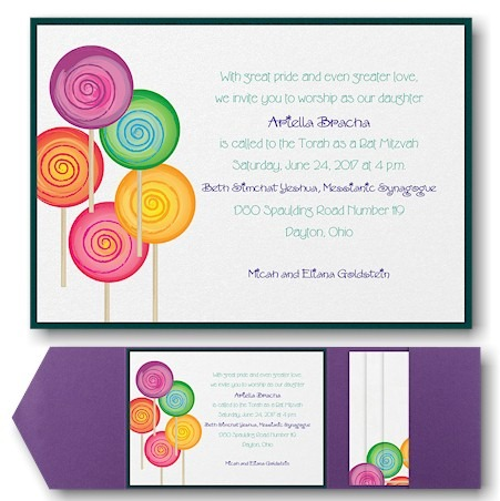 Sweet as Candy Pocket Bat Mitzvah Invitation
