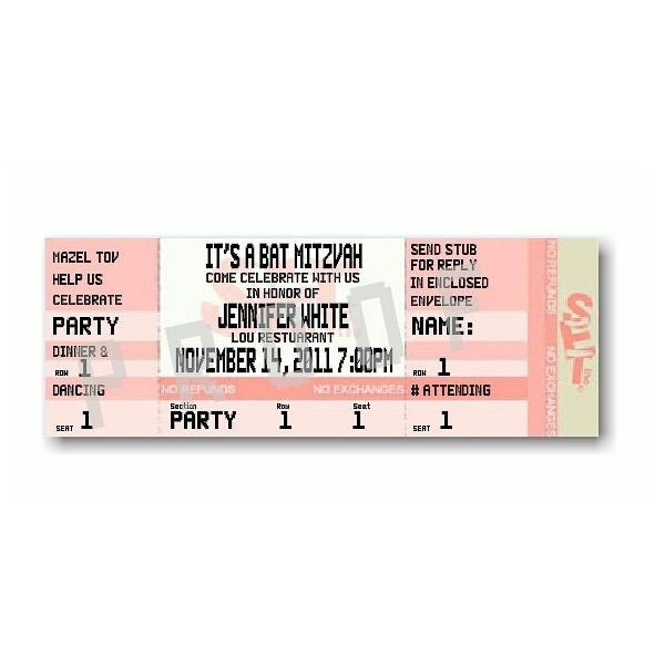 Ticket Blush Bat Mitzvah Invitation