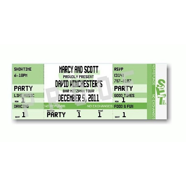 Ticket Green Bar Mitzvah Invitation