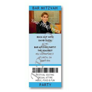 Ticket Photo Blue Bar Mitzvah Invitation