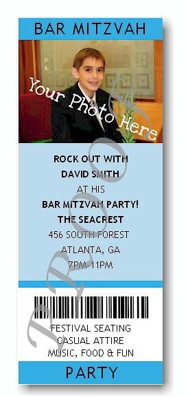 Ticket - Photo Blue Bar Mitzvah Invitation