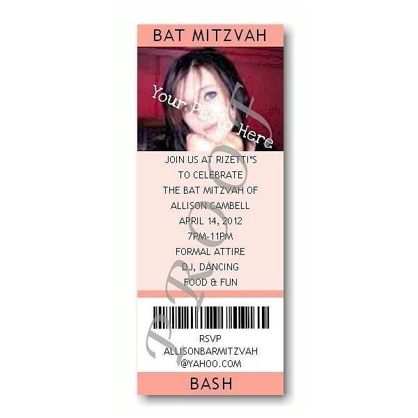 Ticket Photo Peach Bat Mitzvah Invitation