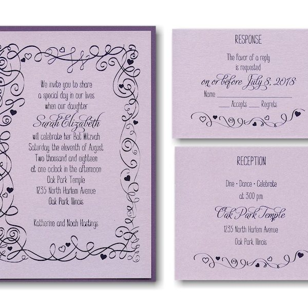 Turn of Tradition Layered Bat Mitzvah Invitation