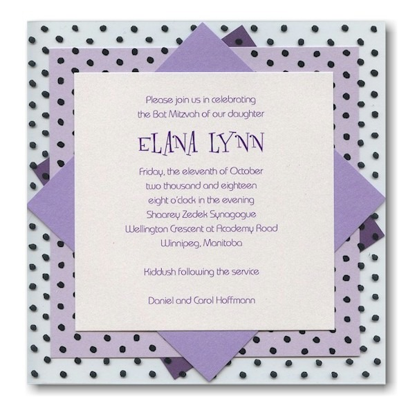 Vibrant Beauty in Purple Bat Mitzvah Invitation