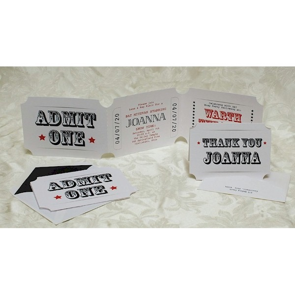 admit one white ticket bat mitzvah invitation bar mitzvah
