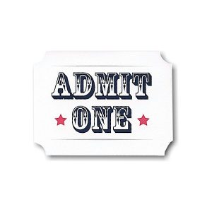Admit One White Ticket Bar Mitzvah Invitation