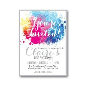 Color Burst Bat Mitzvah Invitation Sample